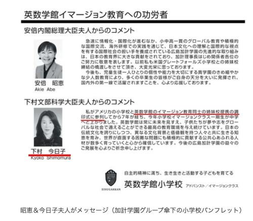 下村博文の嫁下村今日子の経歴と加計学園との関わり